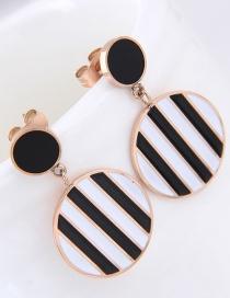 Fashion Black+white Stripe Pattern Decorated Round Earrings