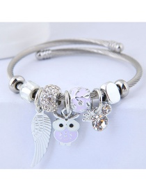 Fashion Light Purple Owl Shape Decorated Bracelet