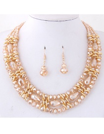 Simple Gold Color Pure Color Decorated Jewelry Set