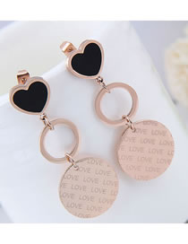 Elegant Rose Gold+black Round Shape Decorated Long Earrings