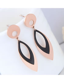 Elegant Rose Gold Oval Shape Design Hollow Out Earrings
