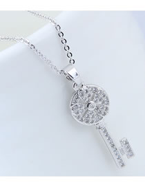 Elegant Silver Color Key Pendant Decorated Long Necklace