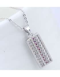 Elegant Silver Color Abacus Pendant Decorated Necklace