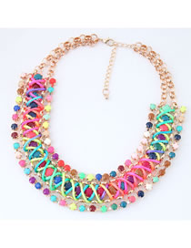 Fashion Multi-color Color-matching Decorated Necklace