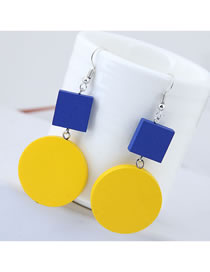Fashion Yellow+blue Geometric Shape Decorated Earrings