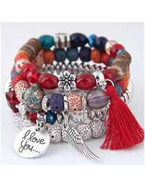 Fashion Red Multi-layer Design Tassel Bracelet