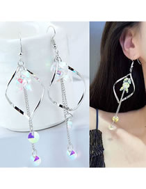 Fashion Silver Color Waterdrop Shape Design Long Tassel Earrings