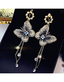 Fashion Gold Color Butterfly Shape Design Long Earrings