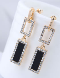 Fashion Black Square Shape Design Long Earrings