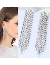 Fashion Silver Color Full Diamond Design Long Tassel Earrings