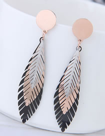 Fashion Rose Gold+black Leaf Shape Design Color Matching Earrings