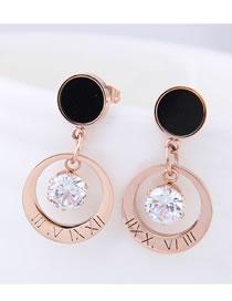 Fashion Rose Gold Diamond Decorated Round Shape Earrings