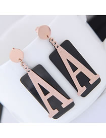 Fashion Rose Gold+black Letter A Shape Design Color Matching Earrings