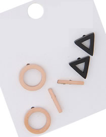 Elegant Black+rose Gold Geometric Shape Design Earrings(6pcs)