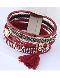 Fashion Claret Red Rivet Decorated Multi-layer Bracelet