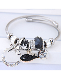 Fashion Black Fish Shape Decorated Multi-element Bracelet