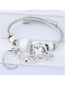 Fashion White Fish Shape Decorated Multi-element Bracelet