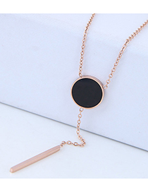Fashion Rose Gold Round Shape Decorated Tassel Necklace