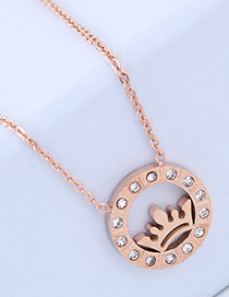 Fashion Rose Gold Crown Shape Decorated Necklace