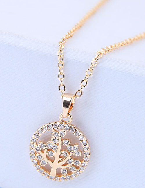 Elegant Gold Color Tree Pendant Decorated Long Necklace