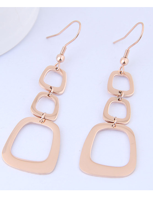 Elegant Rose Gold Square Shape Design Long Earrings