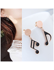 Fashion Black+rose Gold Note Shape Design Earrings