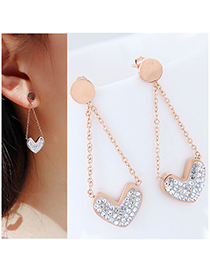 Fashion Rose Gold+white Heart Shape Decorated Tassel Earrings