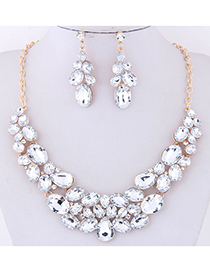 Fashion White Full Diamond Decorated Jewelry Set