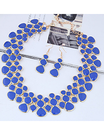 Fashion Blue Full Diamond Decorated Jewelry Set