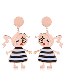Fashion Rose Gold Pig Shape Decorated Earrings