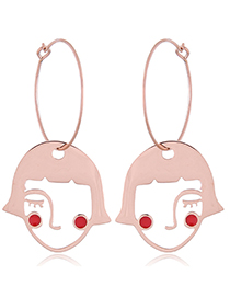 Fashion Rose Gold Portrait Shape Decorated Earrings