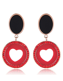Fashion Red Hollow Out Design Round Shape Earrings