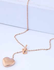 Fashion Rose Gold Heart Shape Pendant Decorated Necklace
