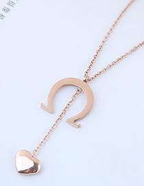 Fashion Rose Gold Heart Shape Pendant Decorated Necklace
