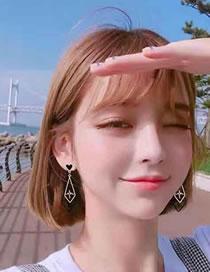 Fashion Rose Gold+black Heart Shape Decorated Earrings