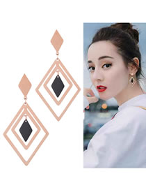 Fashion Rose Gold+black Rhombus Shape Decorated Earrings