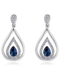 Fashion Silver Color+navy Water Drop Shape Decorated Earrings