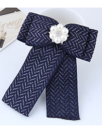 Fashion Navy Flower Shape Decorated Brooch