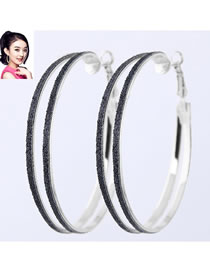Fashion Black+silver Round Shape Decorated Earrings