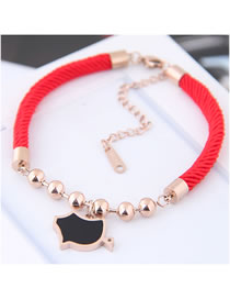 Fashion Black+gold Color Pig Shape Decorated Bracelet