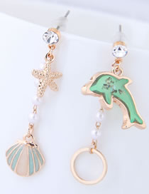 Fashion Green+gold Color Shell Shape Decorated Earrings