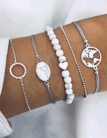 Elegant White Heart Shape&&beads Decorated Bracelet(5pcs)