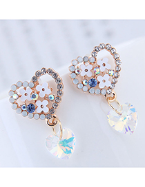 Sweet Gold Color+white Flower Decorated Heart Shape Earrings