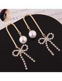 Sweet Gold Color Bowknot&pearls Decorated Long Earrings