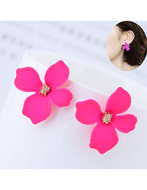 Sweet Plum Red Flower Shape Design Pure Color Earrings