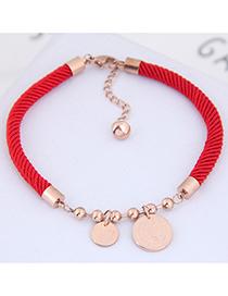 Fashion Red Round Shape Pendant Decorated Bracelet