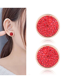 Fashion Red Full Diamond Decorated Round Shape Earrings