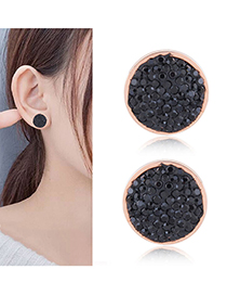 Fashion Black Full Diamond Decorated Round Shape Earrings