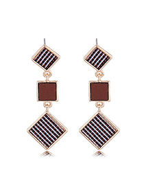 Fashion Gold Size Square Earrings