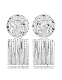 Fashion Silver Metal Flower Carving Badge Square Earrings